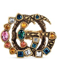 Gucci - Crystal Double G Ring - Lyst