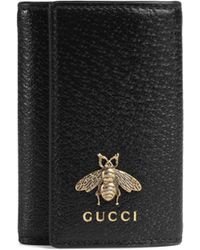 Gucci - Animalier Leather Key Case - Lyst