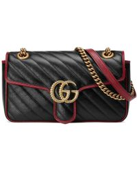 4f9654cb8358 Gucci GG Marmont Velvet Mini Shoulder Bag in Black - Lyst
