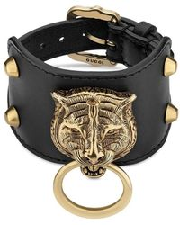 Gucci - Leather Bracelet With Feline Head - Lyst