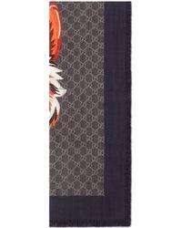 Gucci - Étole en laine GG avec loup - Lyst