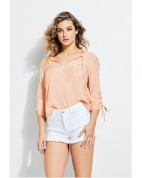 Guess - Lynn Embroidered Tie-front Top - Lyst