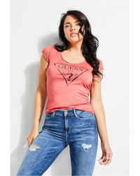 Guess - Logo V-neck Tee - Lyst