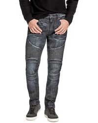 Guess - Slim Tapered Destroyed Moto Jeans - Lyst