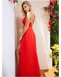 Guess - Solid Silk Maxi Dress - Lyst