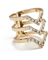 Guess - Grace Gold-tone Cubic Zirconia Ring - Lyst