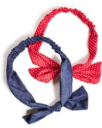 Guess - Polka Dot And Denim Headband Set - Lyst