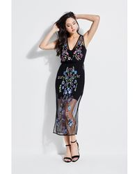 Guess - Cassia Embroidered Mesh Dress - Lyst