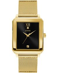 Guess - Gold-tone And Black Rectangular Watch - Lyst