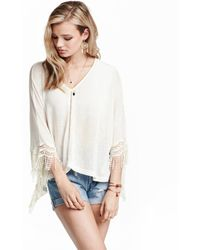 H&M | Knitted Poncho With Lace | Lyst