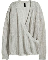 H&M - Knitted Wrapover Jumper - Lyst