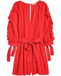 H&M   Playsuit With Balloon Sleeves   Lyst