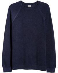 H&M - Textured-knit Cotton Jumper - Lyst
