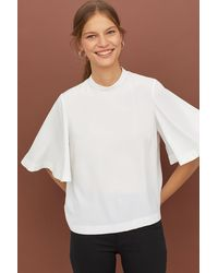 H&M - Trumpet-sleeved Blouse - Lyst