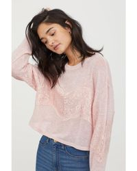 H&M - Fine-knit Jumper With Lace - Lyst