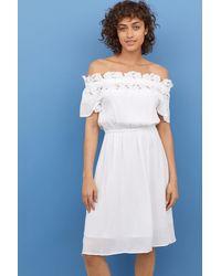 39de0304c158fc Lyst - H M Off-the-shoulder Dress in Blue