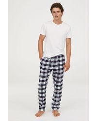 H&M - Flannel Pajama Pants - Lyst