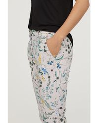 H&M - Patterned Cigarette Trousers - Lyst