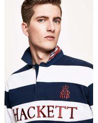 Hackett - Stripe Cotton Rugby Shirt - Lyst