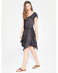 Halston - Ruched Printed Dress - Lyst