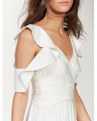 Halston Ruffle Sleeve Jersey Gown