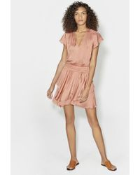 Halston - Cap Sleeve V Neck Ruched Waist Flounce Dress - Lyst