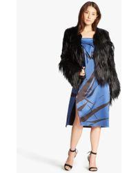 Halston - Fur Blocked Coat - Lyst