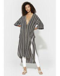 Halston - Striped Silk Kimono - Lyst