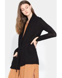 Halston - Draped Neck Cardigan - Lyst