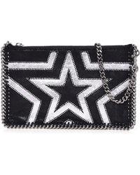 Stella McCartney - Falabella Shaggy Gradient Star Purse In Black/silver - Lyst