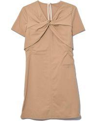 Carven - Twist Neckline Poplin Dress In Linen - Lyst