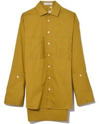 Palmer//Harding - Boyfriend Shirt In Moss Poplin - Lyst