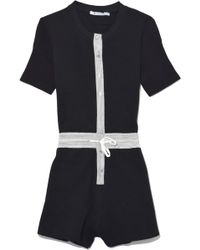 T By Alexander Wang - Heavy Waffle Button Up Romper In Black - Lyst