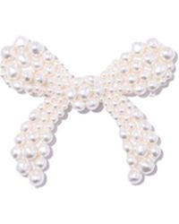 Simone Rocha - Beaded Bow Brooch In Pearl - Lyst