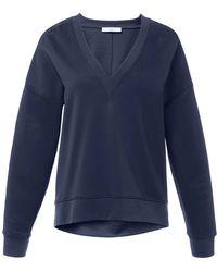 Tibi - V-neck Draped Back Sweatshirt In Navy - Lyst