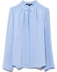 Derek Lam - Kara Long Sleeve Blouse In Oxford Blue - Lyst