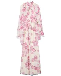 Giambattista Valli Cape Back Gown In Ivory/peony Rose