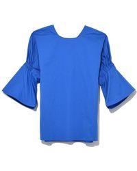 Tibi - Satin Poplin Shirred Sleeve Tee In Blue - Lyst