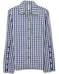 Adam Selman - Pj Shirt In Mint/navy Gingham - Lyst