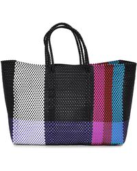 Truss - Large Tote With Leather Pocket In Fuschia/red - Lyst