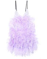 Attico - Sequin And Feather Mini Slip Dress In Lilac - Lyst