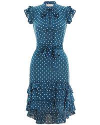 Zimmermann - Dot Flutter Smock Short Dress In Teal Dot - Lyst