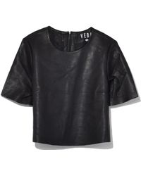 VEDA - Crop Leather Tee In Black - Lyst