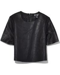 VEDA - Leather Crop Tee In Black - Lyst