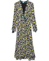 Proenza Schouler - Long Sleeve V-neck Printed Georgette Dress In White Wildflower - Lyst