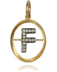 Annoushka - Yellow Gold And Diamond Initial F Pendant - Lyst