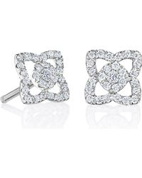 De Beers - Small White Gold Enchanted Lotus Stud Earrings - Lyst