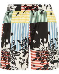 Burberry - Floral Stripe Patchwork Swim Shorts - Lyst