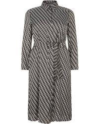 Marina Rinaldi - Geometric Satin Shirt Dress - Lyst