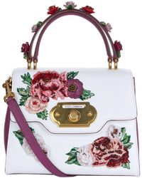 Dolce & Gabbana - Leather Peony Embroidered Welcome Bag - Lyst